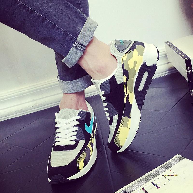 迷彩男鞋男士休閒鞋透氣 鞋板鞋學生跑步鞋阿甘鞋旅遊鞋藍黃紅