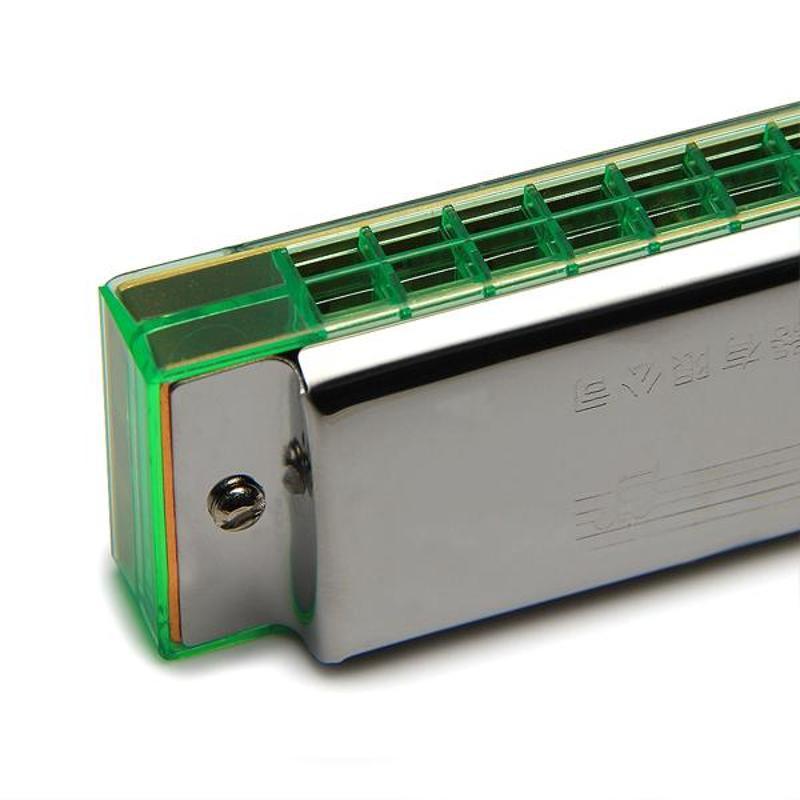 Swan 24 孔C 調複音鋁坐板口琴(SW24 17 綠格)