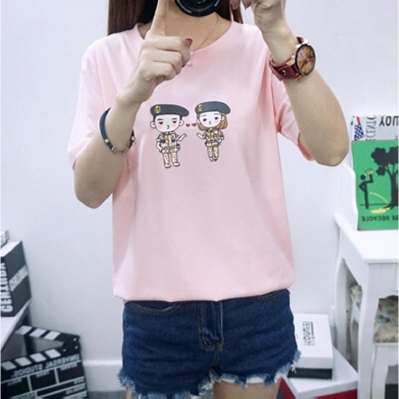 ~ ~太陽的後裔Q 版卡通純棉短袖 T恤~粉色、灰色、白色、黑色~Free Size 單