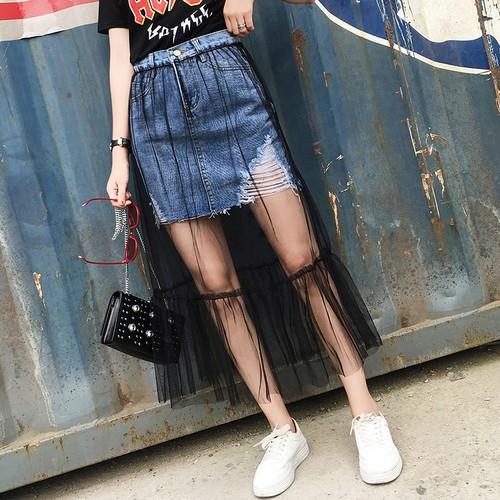 ❤ 實拍❤2017  高腰黑色網紗裙拼接牛仔裙半身裙長裙A 字裙刷破牛仔毛邊 破洞女生衣著