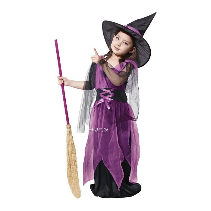 ~瘋狂派對~萬聖節服裝女巫裝巫婆裝巫婆服裝兒童變裝服網紗女巫婆