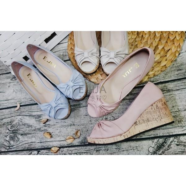 E JIJA 訂製款MIT 蝴蝶結皮質輕量魚口楔型鞋