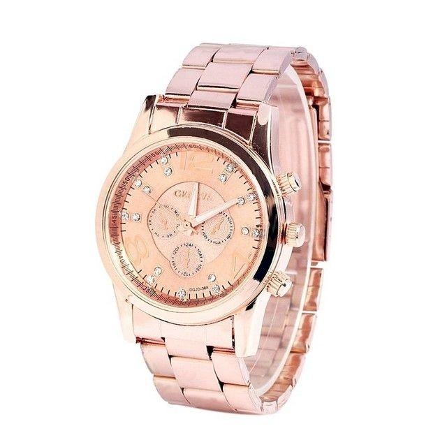 日內瓦合金手錶geneva 水鑽無划痕鋼帶石英表