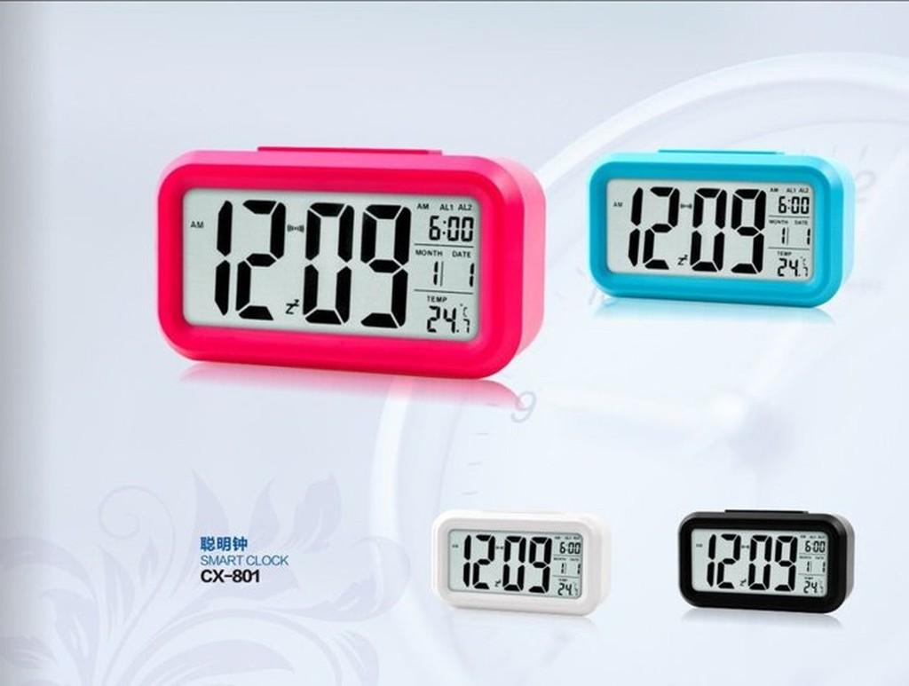 ~雅虎A 店~光控聰明鐘CX 801 帶溫度顯示日歷星期時鐘夜光光控貪睡鬧鐘懶人LED 電