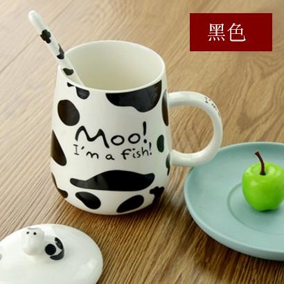 ~日韓e 街~可愛牛奶杯 陶瓷大肚馬克杯帶蓋帶勺咖啡杯情侶杯