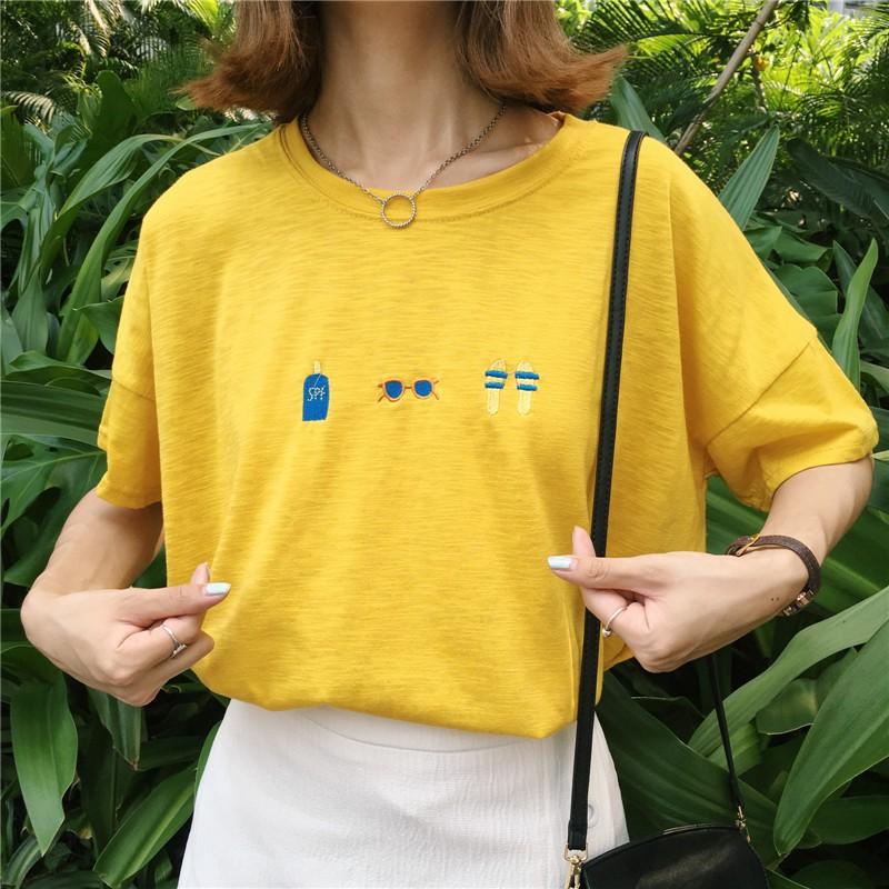 韓系女生上衣百搭學院風童趣可愛刺繡眼鏡竹節棉寬鬆大碼短袖T 恤