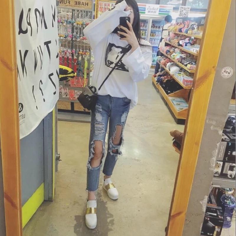 (破褲️實拍)韓國乞丐褲網襪大破壞褲破褲破長褲鏤空割破刷破高腰長褲寬版直筒褲男友褲牛仔褲