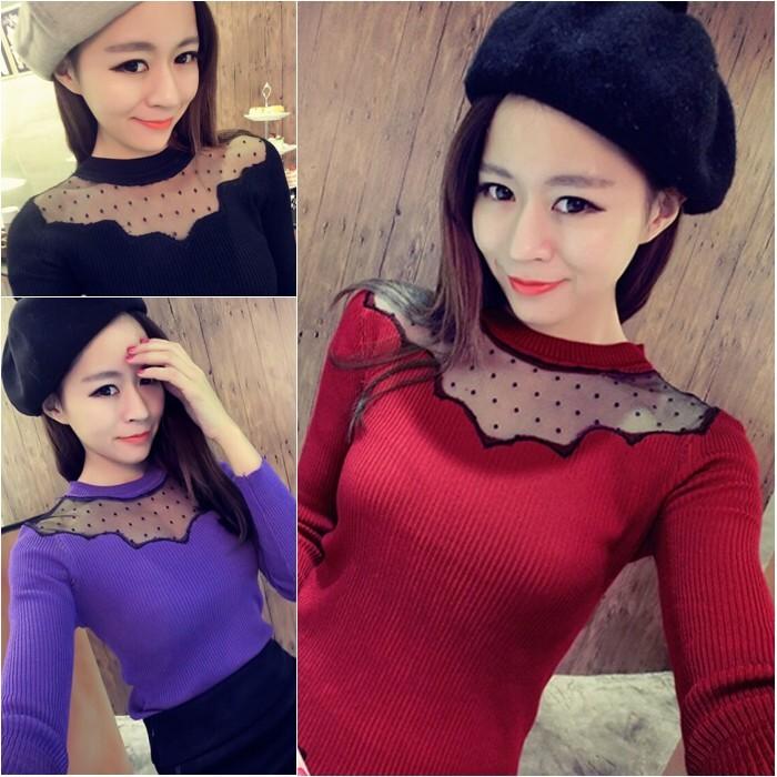 ☞☞☞ギケグ 女裝 百搭波點蕾絲拼接修身顯瘦長袖針織衫打底衫上衣