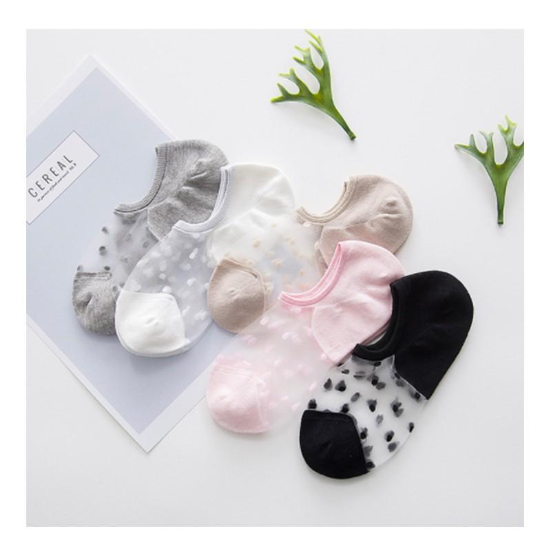 5 雙只要120 元 日系清新防滑玻璃絲棉質波點防臭短襪隱形襪 襪子女