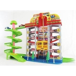 ~虎寶玩具倉庫 ~玩具車迴轉軌道停車場螺旋梯場景 多層立體軌道停車場