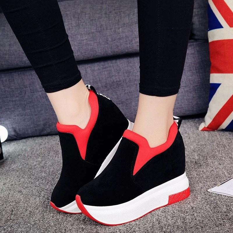 女鞋厚底內增高搖搖底 8cm 跑步 坡跟單鞋高跟鞋女士鞋