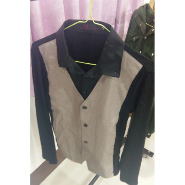 男混搭兩件式紳士背心長袖襯衫XL