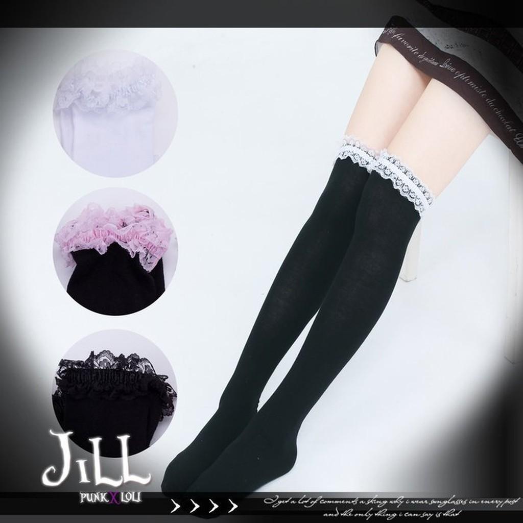 Oo 吉兒oO 日系可愛蘿莉塔風百搭蕾絲緞帶棉質彈性膝上襪過膝襪多色LOLITA ~J1I