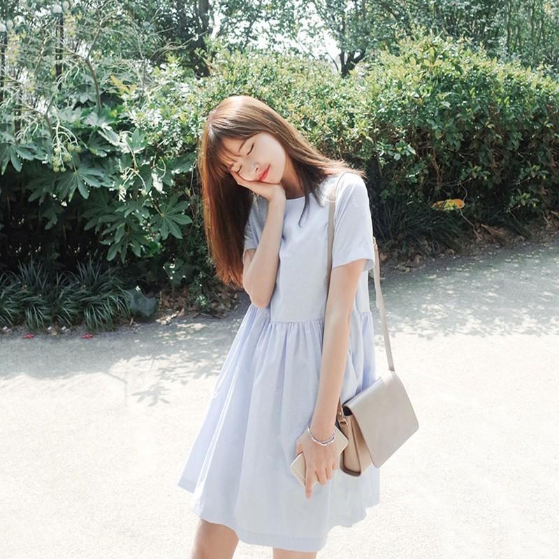 ~ 裝扮~韓國 短袖寬鬆顯瘦裙子韓國小清新刺繡娃娃棉麻學生連衣裙套裝大 套裝睡衣套裝 套裝