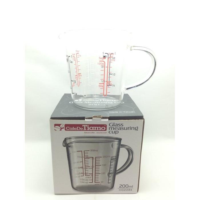 ~圓臻~Tiamo 玻璃量杯200ml HG2286 耐熱量杯玻璃量杯刻度量杯玻璃有柄量杯