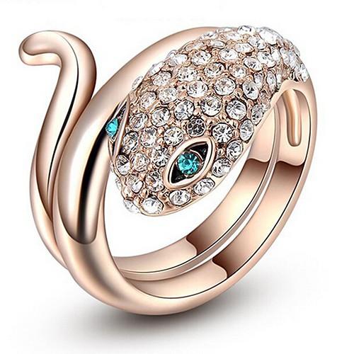 女士藍眼睛蛇 18K 鍍金戒指玫瑰金