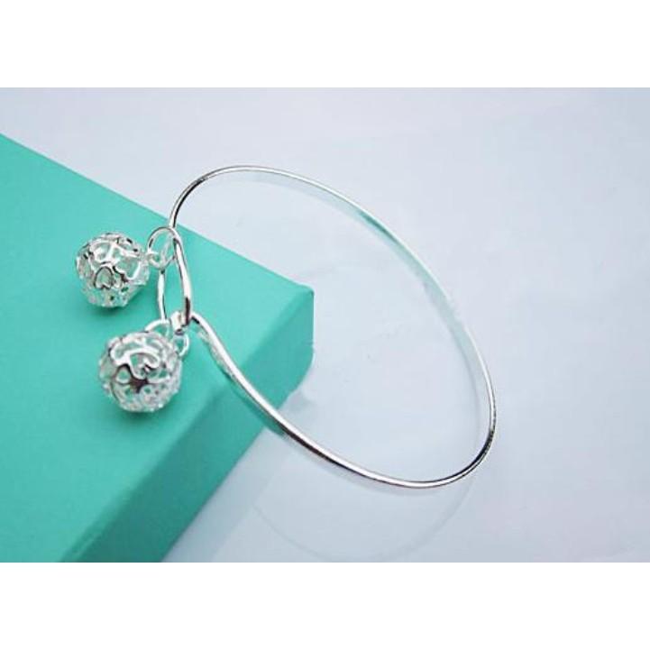 s925 銀純銀飾品韓國版甜美簡約轉運鈴鐺手環