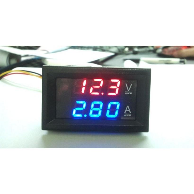 DC0 100V 10A 50A 100A LED 直流雙顯示數字電流電壓表數字表頭雙色