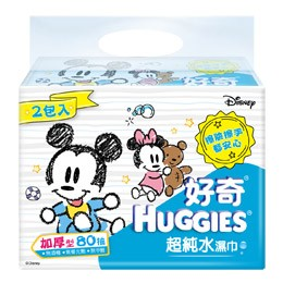 ~好奇~純水迪士尼限定版嬰兒濕巾80 抽2 包加厚型