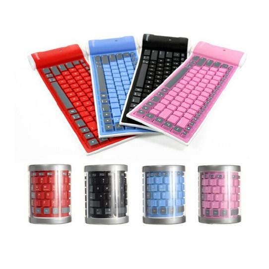 手機ipad 平板ISO 安卓系統 無線藍牙鍵盤防水可折疊矽膠軟鍵盤