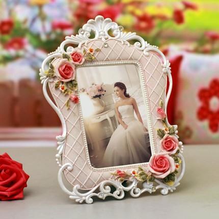 ~ ~6 寸歐式田園樹脂相框擺台彩繪相架影樓婚慶古典美式玫瑰浮雕