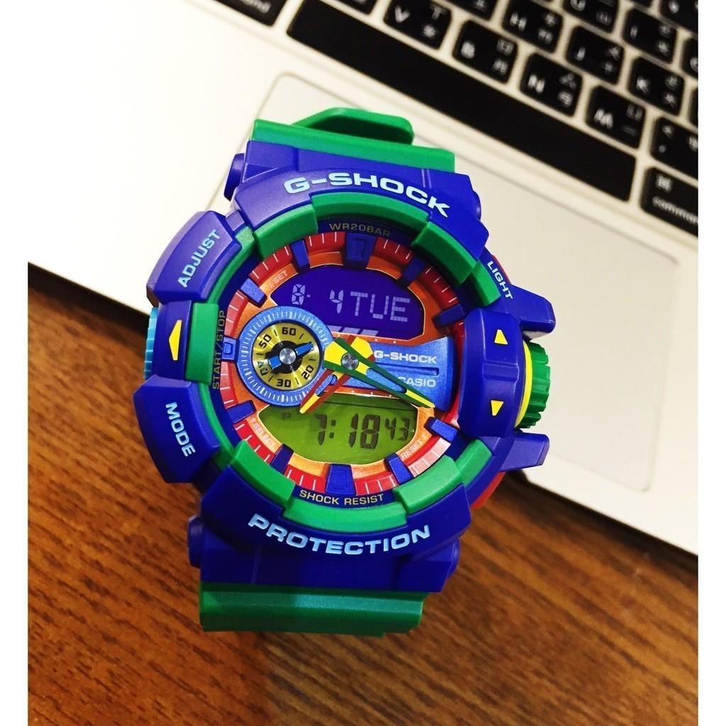 CASIO G SHOCK 卡西歐GA 400 大錶徑GA 400 2A 藍綠綠樂高手錶