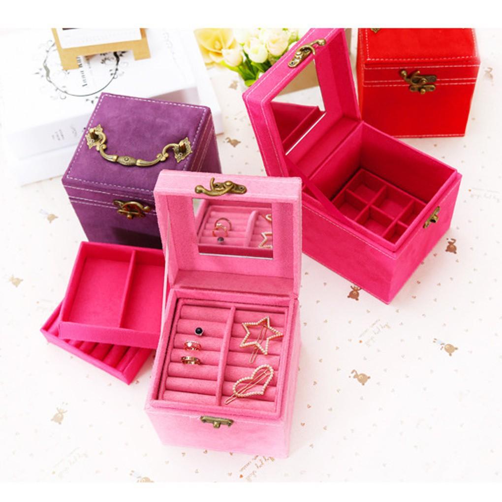 三層多 絲絨首飾盒多款顏色珠寶盒公主歐式收納盒戒指耳環收納盒附化妝鏡