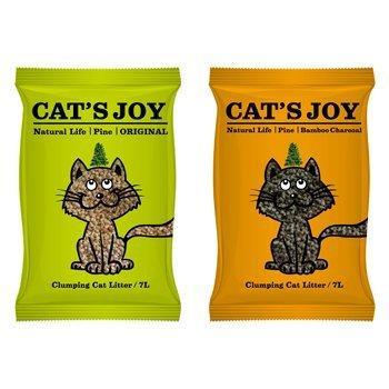 喜樂貓Cat 's Joy 凝結型天然松木砂綠色原木貓砂7L /凝結力強用量超省/貓˙兔˙