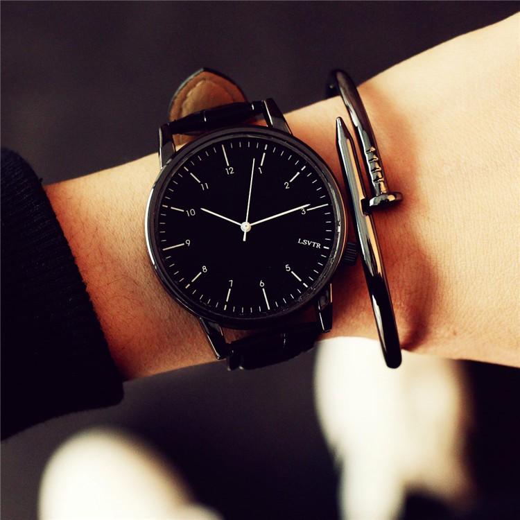 復古真皮帶防水簡約學生手錶 潮流石英男表女表情侶一對表