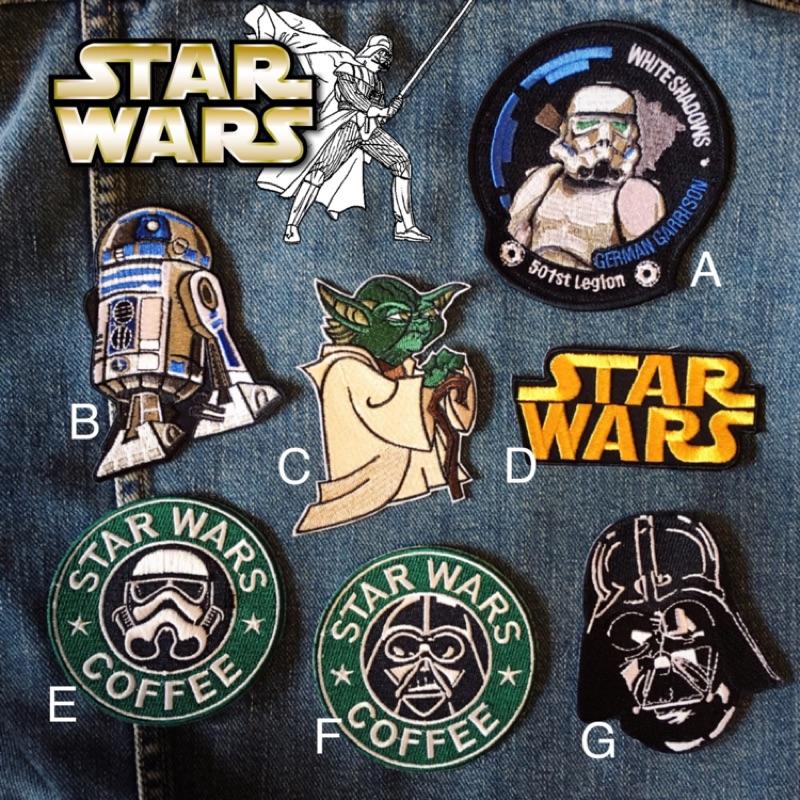 星際大戰STAR WARS 黑武士白兵尤達R2D2 貼布刺繡補丁布貼燙布