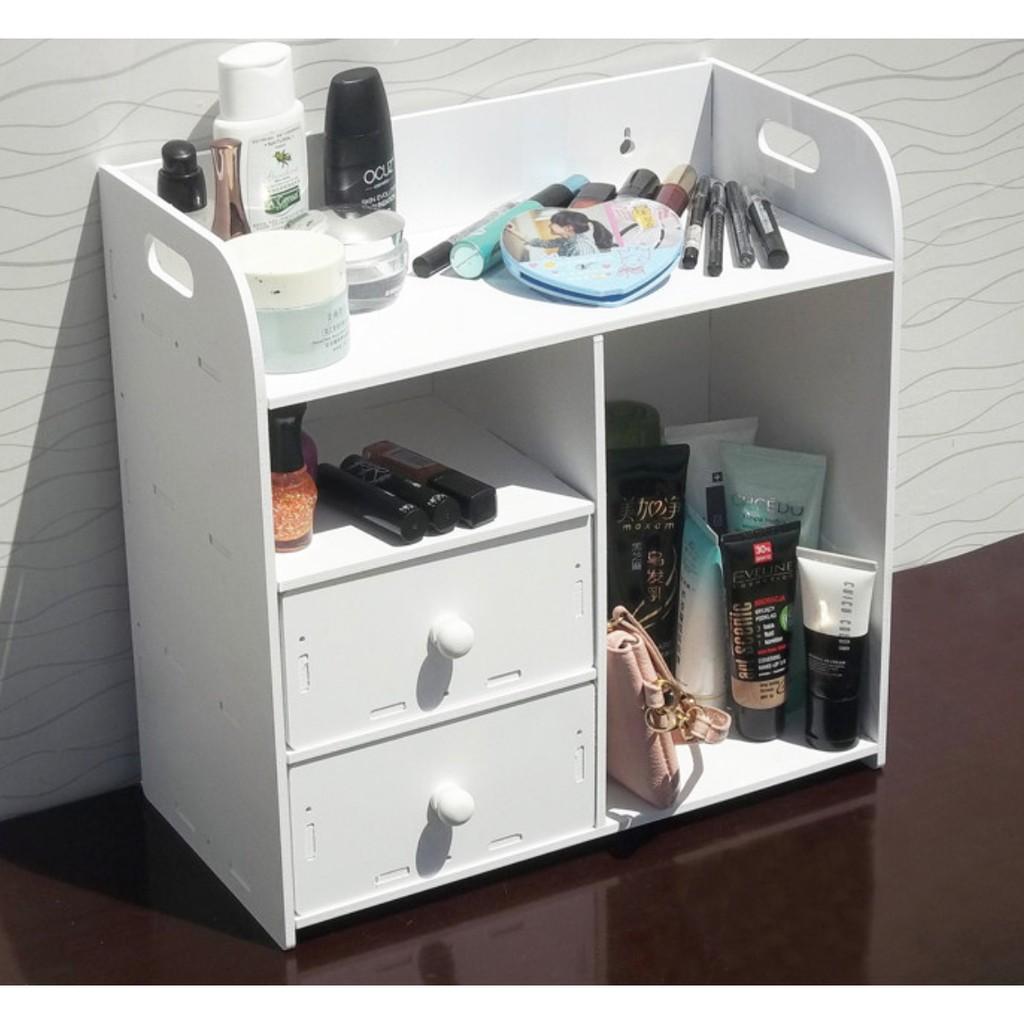 木製DIY 化妝桌收納再進化客廳辦公桌桌上型收納化妝保養品飾品收納櫃宿舍收納