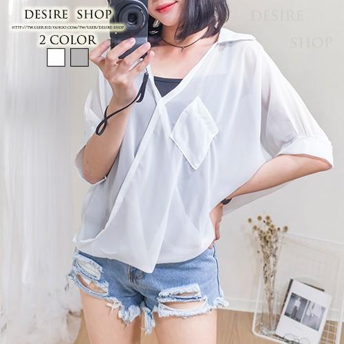 Desire Shop ‧二件式!交叉領單口袋雪紡襯衫吊帶背心~MC60111 ~夏日新品
