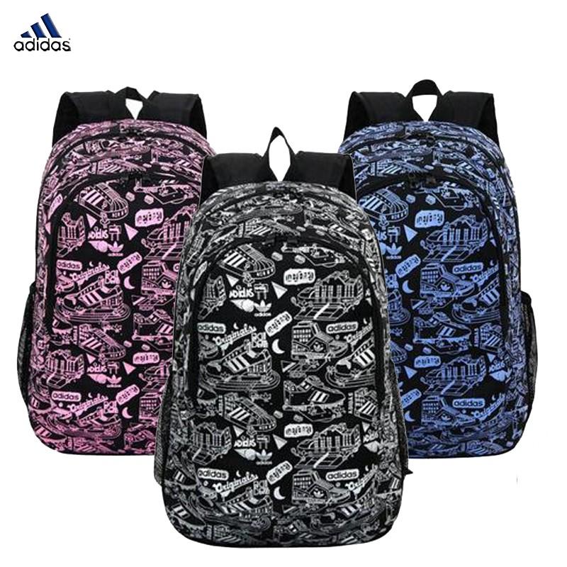 阿迪達斯adidas 三葉草後背包雙肩包涂鴉 潮校園雙肩包學生書包 旅行背包電腦包