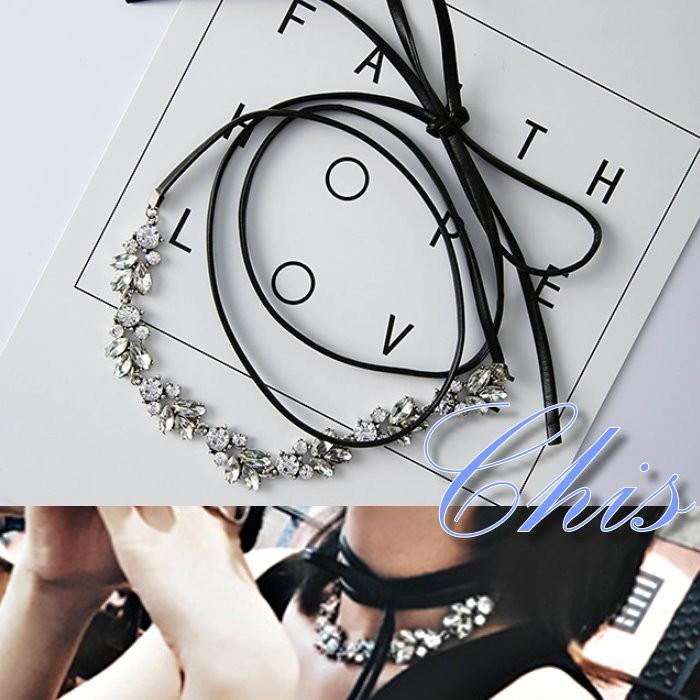 Chis Store ~多用途鑽石皮革頸鍊髮圈~韓國華麗閃亮小鑽葉子拼接皮質頸圈短項鍊鎖骨