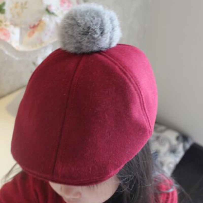 瀅瀅小舖BH3112 棗紅簡約百搭兔毛小球兒童貝雷帽寶寶鴨舌帽子韓國小孩保暖帽