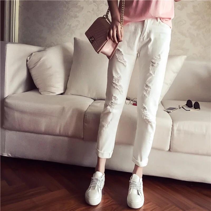2016  破壞窄褲白色破洞顯瘦高腰長褲學生牛仔褲