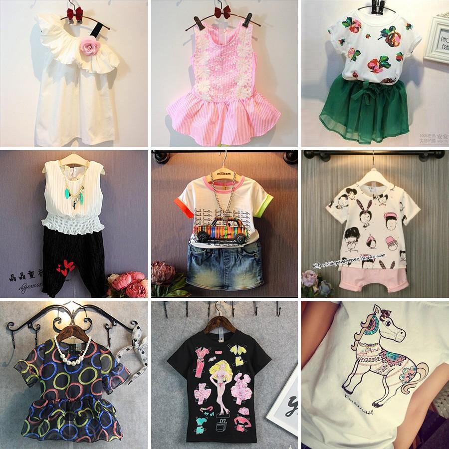 女童t 恤衫短袖兒童圓領衫上衣2016 夏 寶寶百搭套頭打底衫