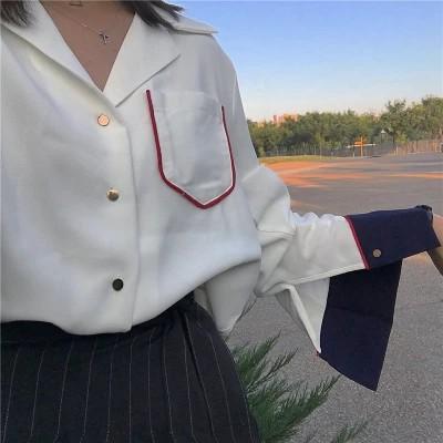 正韓上衣氣質寬鬆撞色翻領長袖襯衫女韓範寬松 襯衣學生韓國韓鈕 百搭上衣服