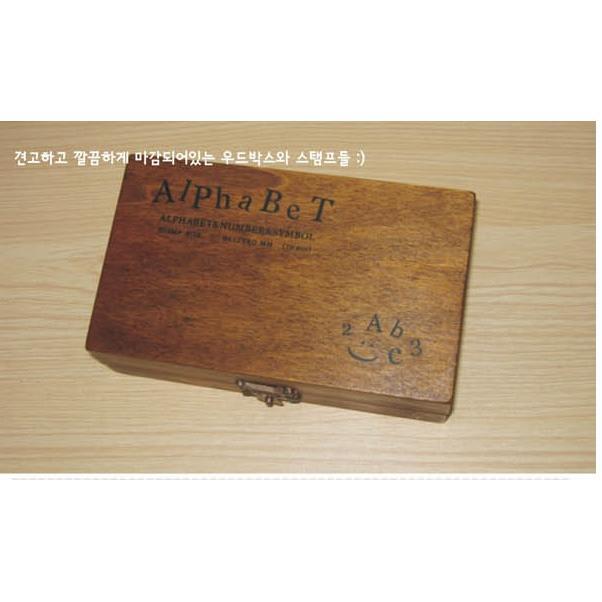 70 枚入正體木盒印章卡本克復古木頭英文字母數字符號印章木頭印章Alphabet 木盒装