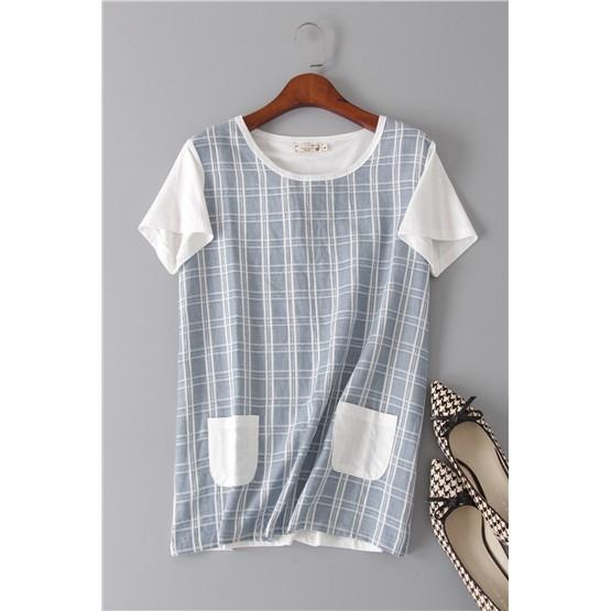 原單外銷 Trip Shop 愛旅行 女裝甜美小清新日系格紋寬鬆拼接棉短袖T 恤上衣