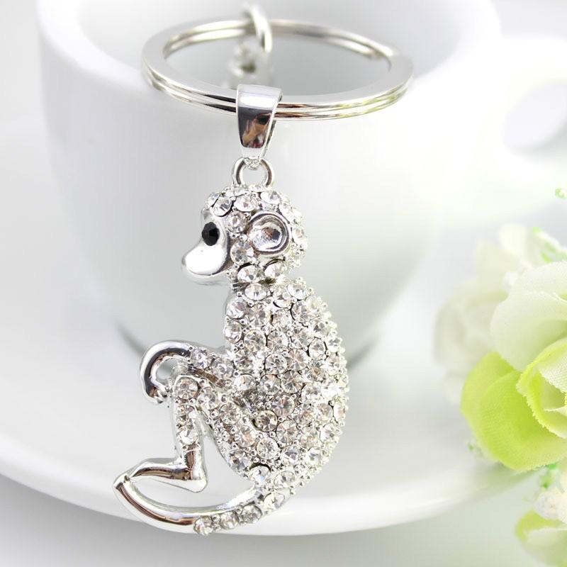 可愛猴子水鑽鑰匙扣包包挂件動物生肖汽車鑰匙扣