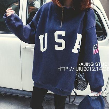EASONSHOP GT7121 韓國 簡約USA 英文字母印花美國國旗刺繡貼布拉鍊裝飾高
