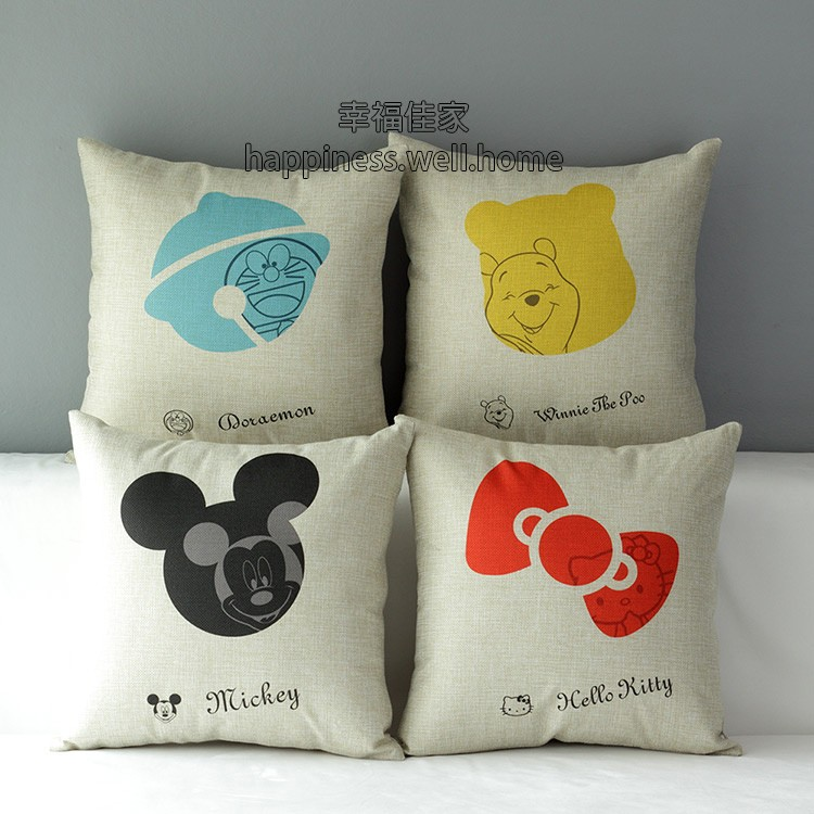 迪士尼三麗鷗卡通米奇維尼凱蒂貓多啦A 夢抱枕抱枕套不含枕心Disney Kitty 枕頭靠