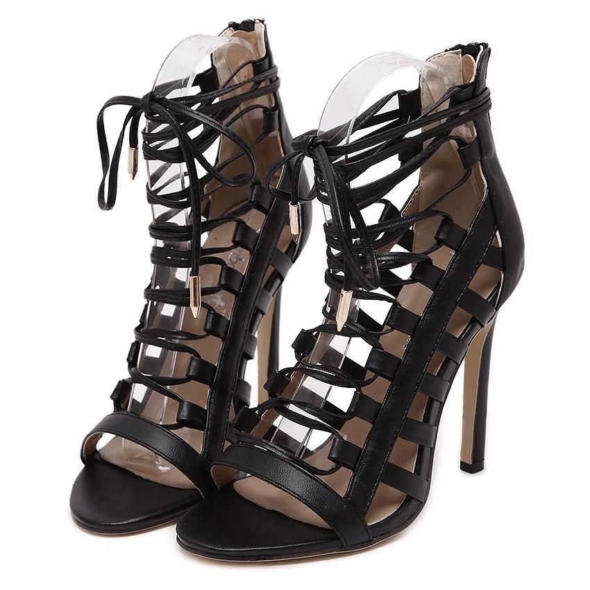 2016 年 站 女鞋鏤空交叉綁帶系帶露趾魚嘴高跟女式涼鞋