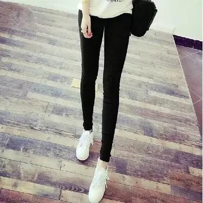 黑色破洞打底褲薄秋款外穿顯瘦高腰九分緊身褲女彈力小腳鉛筆長褲