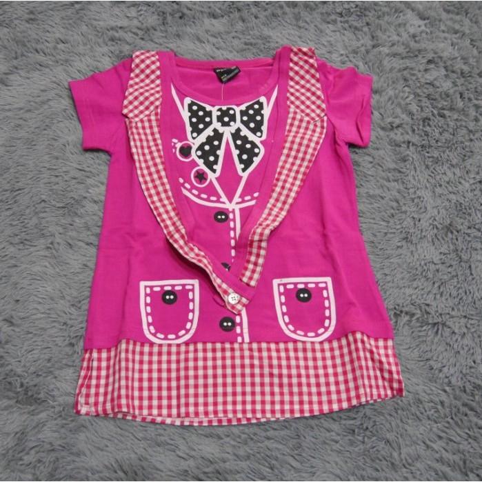 小森童舖女童大童專櫃下櫃棉質可愛立體領結短袖上衣t 恤120 160cm 桃粉零碼 22