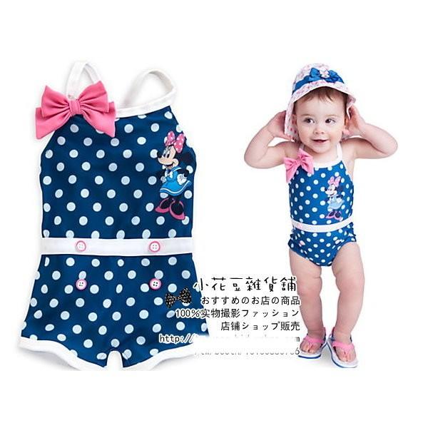 ~小花豆雜貨舖~出口 迪士尼米妮minnie 藍色點點兒童嬰兒寶寶連身褲泳衣泳裝零碼