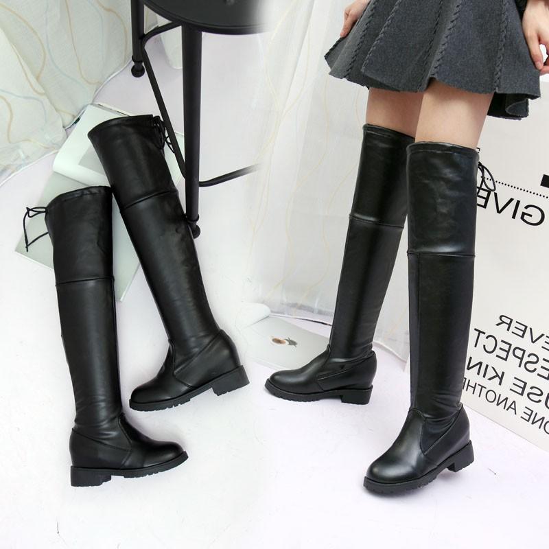 短靴 長筒靴女過膝靴彈力高筒長靴尖頭騎士靴瘦腿靴粗跟靴子女過膝靴短靴馬丁靴靴子