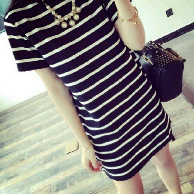 底波拉 韓系女孩條紋大碼smL xL 簡約長版t 恤洋裝