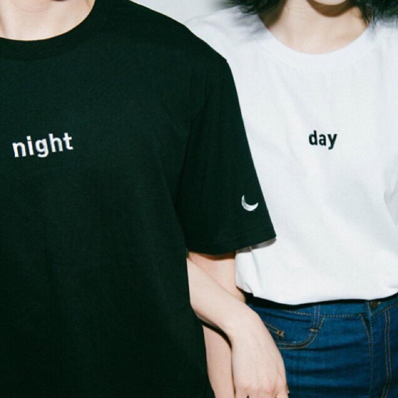 艷刺繡太陽月亮day night 原宿風bf 風學生黑白純色素色素面寬鬆短袖t 恤半袖五分